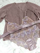 Silk embroidered lingerie set with a mauve knitted sweater