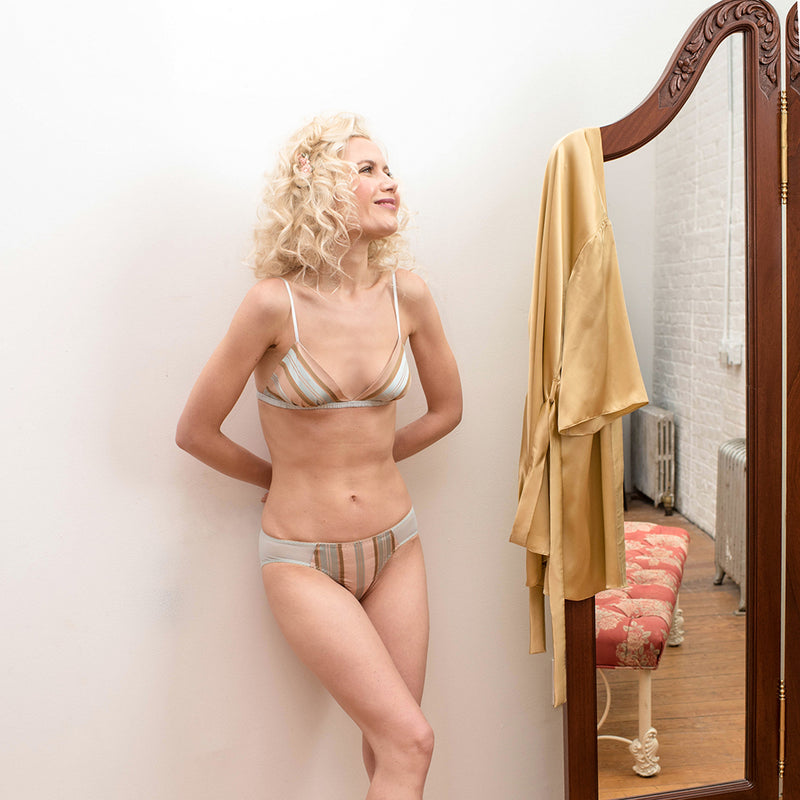 Vintage-inspired Marianne bralette and knickers, handmade in 100% silk satin