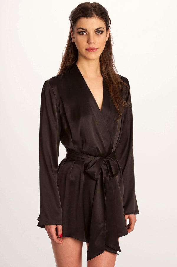 Musette black silk satin robe by Angela Friedman