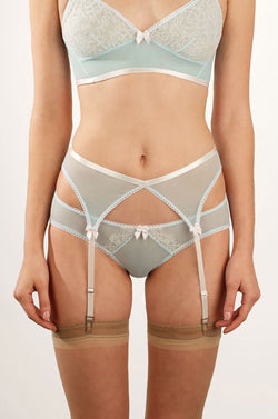 Natalie blue knickers in mesh and white french lace