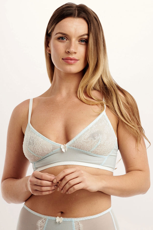 Retro longline mesh bra in blue and white french lace for brides