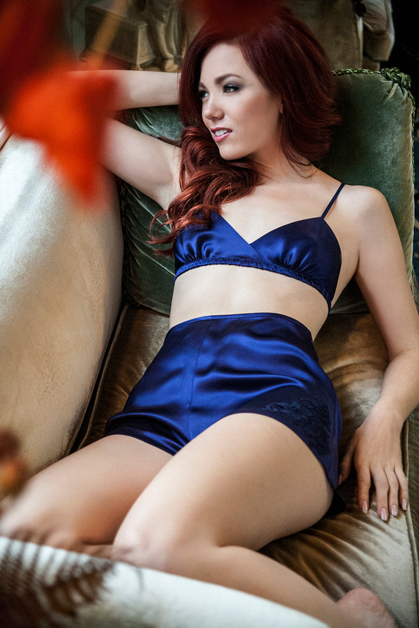 Retro silk bralette and tap pants set in navy blue satin