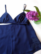 Vintage style silk bra and tap pants in navy blue satin