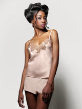 100% silk lounge wear with a blush pink pair of tap pants and lace and satin camisole