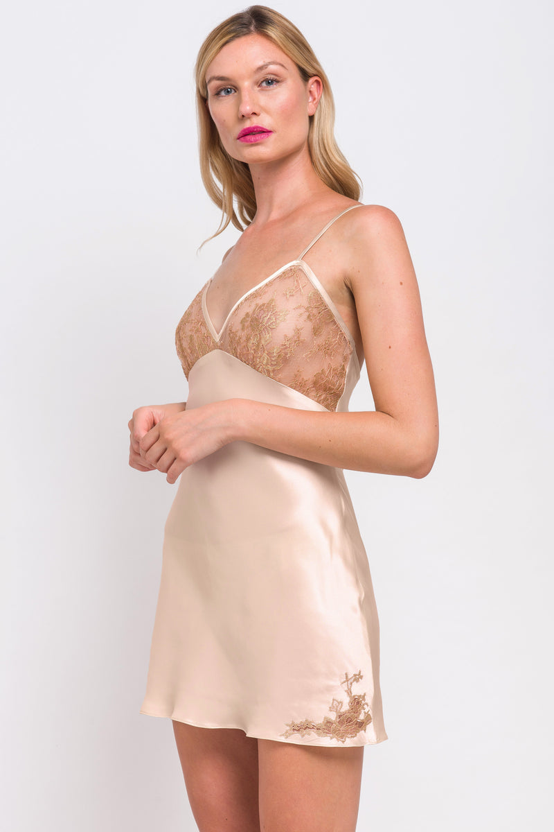 Retro, peach and gold slip with French lace applique trim