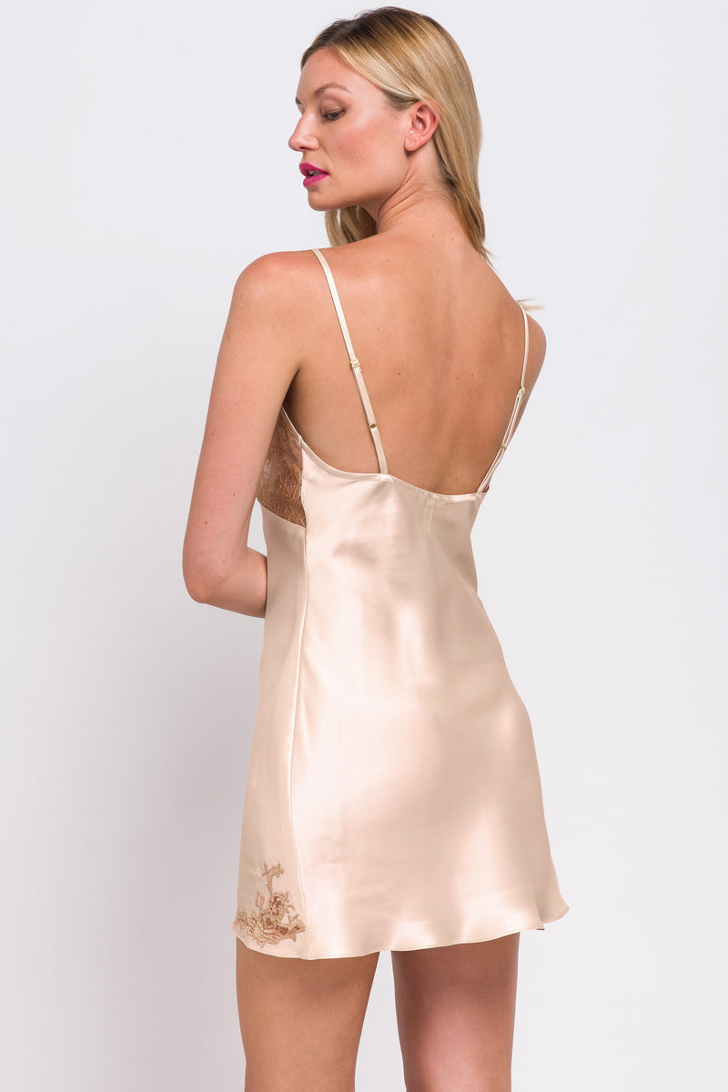 Back of satin full slip and night gown with lace applique