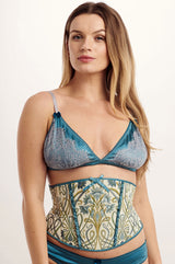 luxury designer corset in an art nouveau style with floral brocade