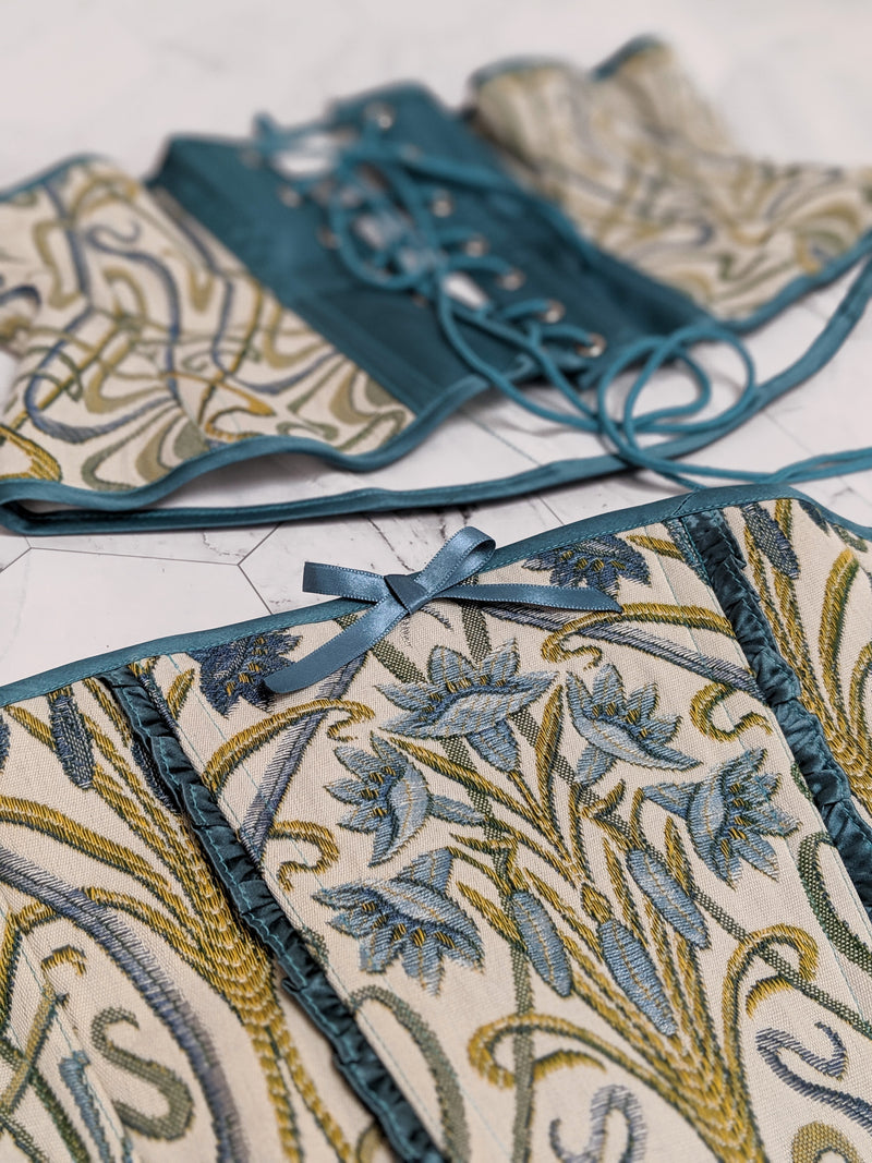 William Morris Art Nouveau style waist cincher corset