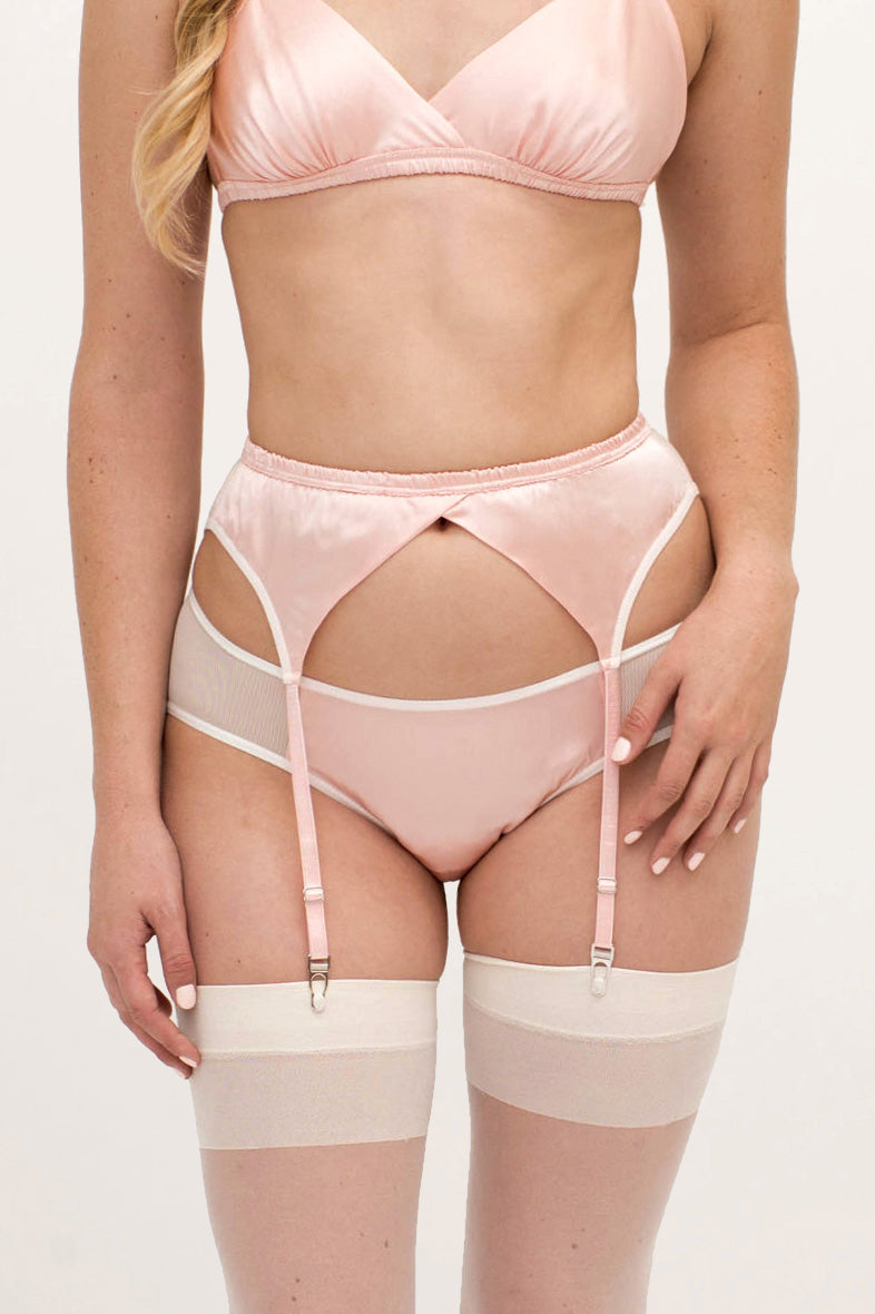 Pink silk lingerie set with stockings