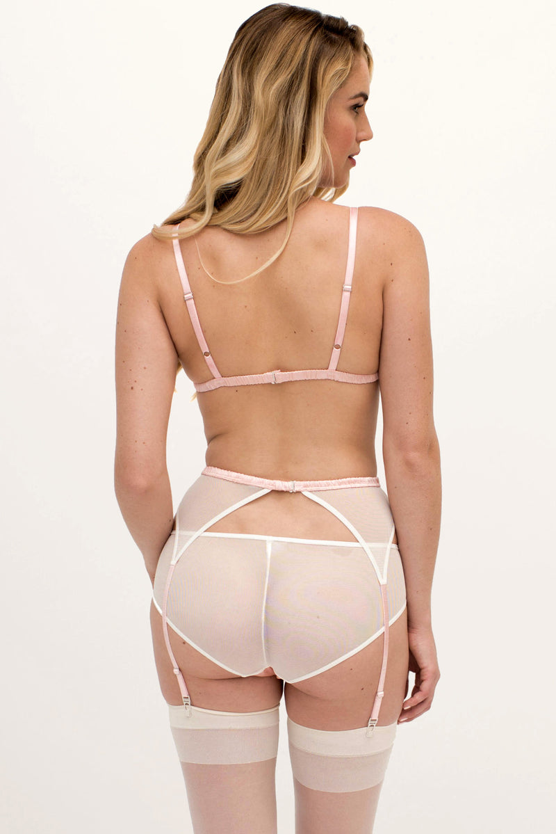 Designer underwear set, handmade in sheer off-white mesh