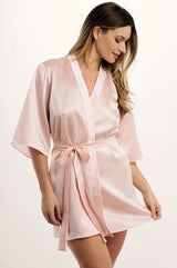 100% silk robe in pink silk satin with short sleeves