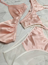 Designer underwear set in pink silk satin and sheer white mesh