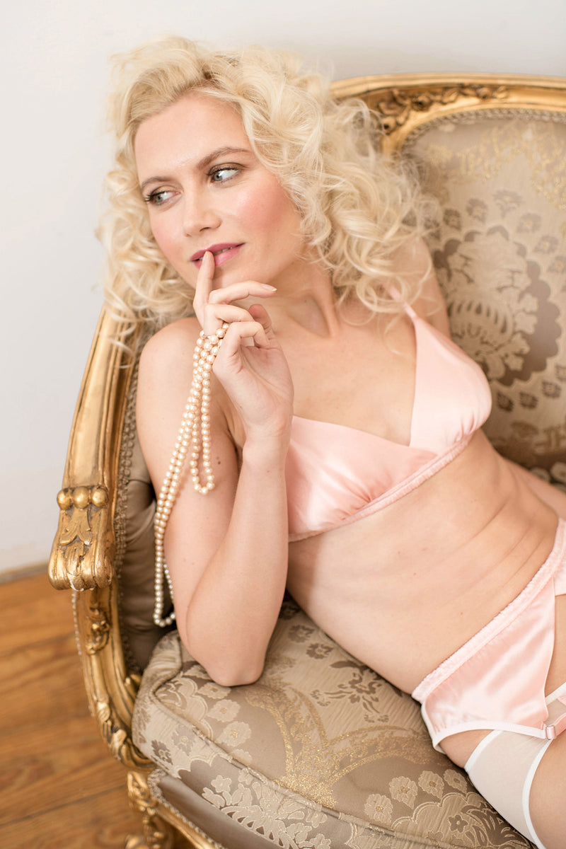 Pink Louisa bralette and suspender belt, handmade in 100% silk satin