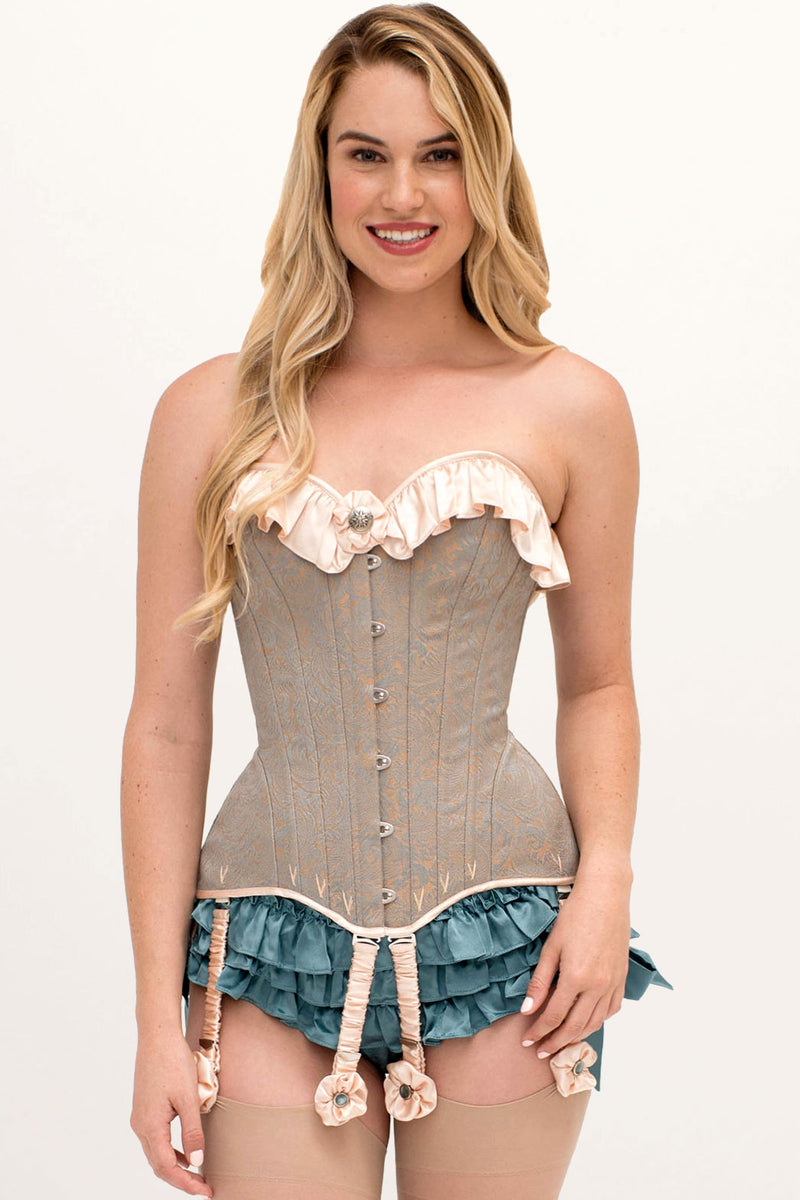 Sasha corset and garters by luxury lingerie designer Angela Friedman