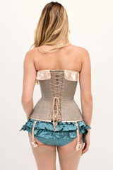 Marie Antoinette brocade corset set in vintage style with suspenders and silk ruffled panties