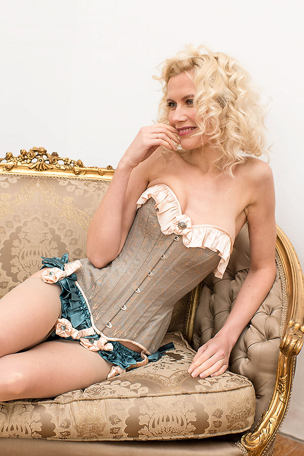 Blue and pink brocade corset set in an Edwardian vintage style with suspenders and silk ruffled panties