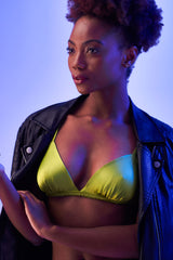 Green silk bralette, styled with a leather jacket