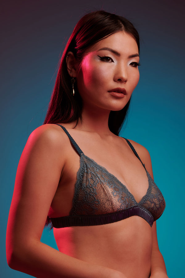 Silvia teal silk bralette with gold lace cups