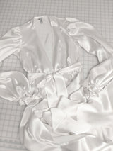 White silk satin dressing gown for bridal trousseau