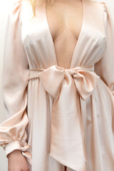 Designer Angela Friedman's Simone long dressing gown in pink silk satin