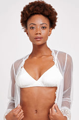 Ivory silk bralette and underwear for wedding night
