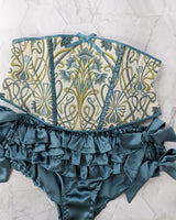 Designer intimates collection with handmade silk ruffled panties and a brocade waspie corset