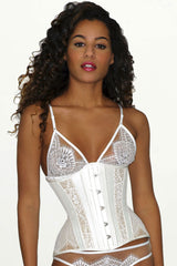 White silk handmade corset and bridal lace lingerie set for a wedding trousseau gift