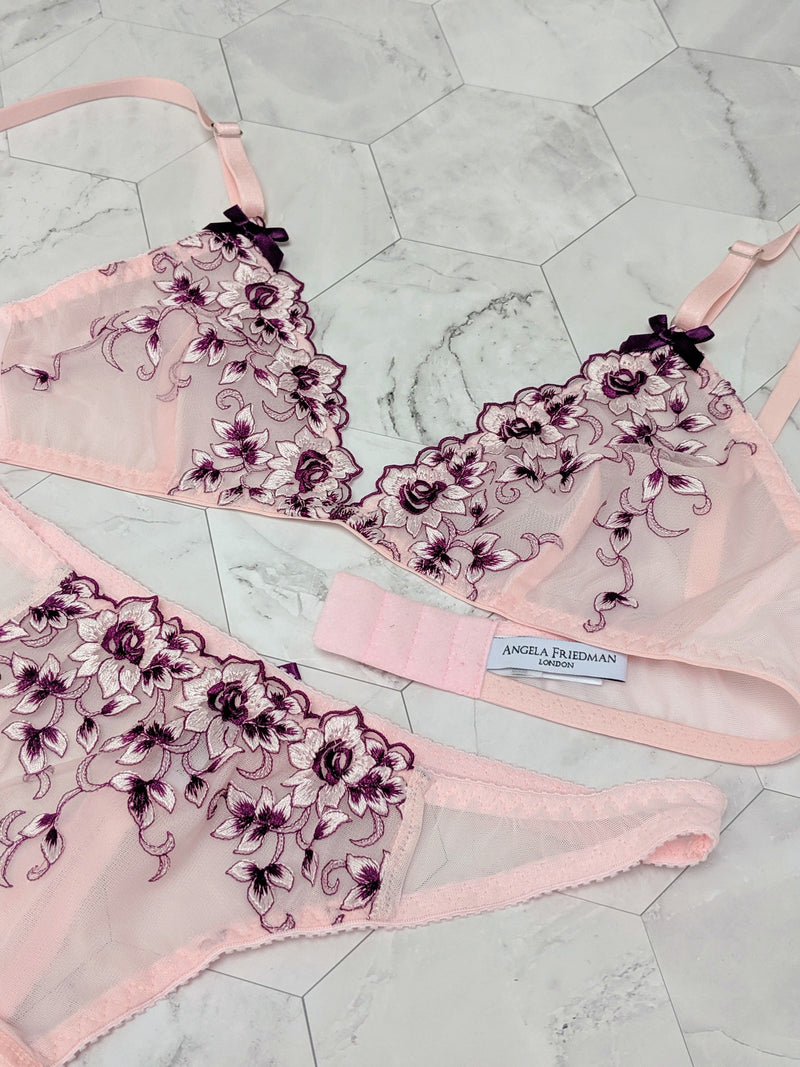 Vintage inspired lingerie sets with pink and purple embroidery
