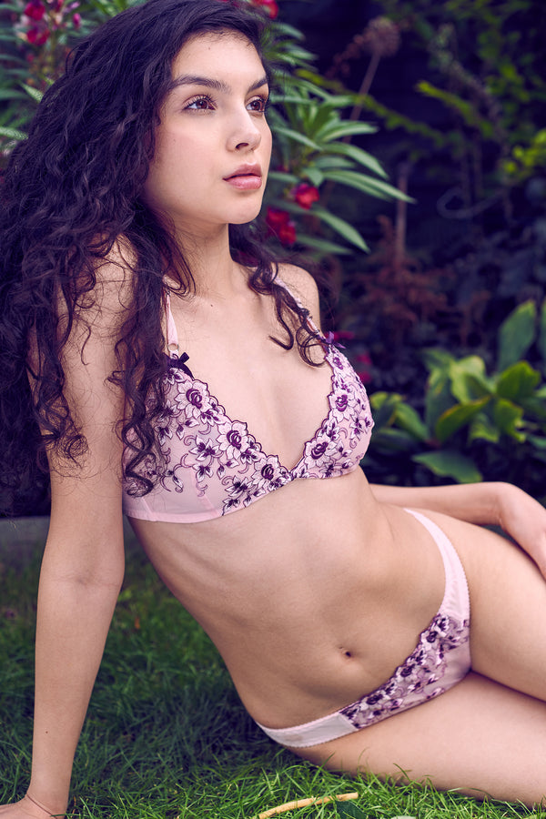 Designer vintage underwear set with purple floral panties and bralette