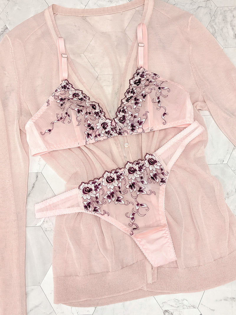 Retro embroidered lingerie set with a sheer pink sweater