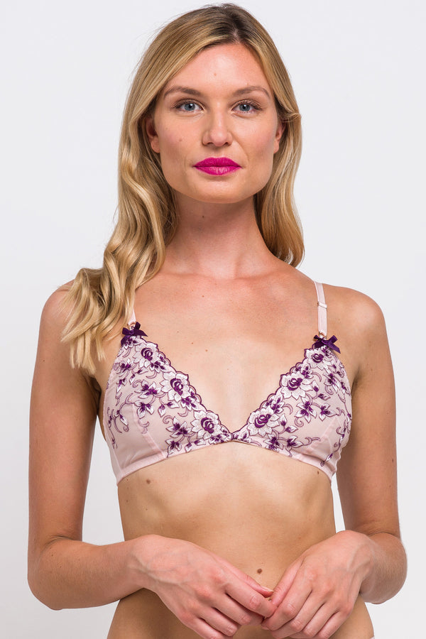 Viola purple and pink bralette in embroidered mesh with floral trim