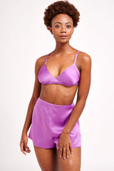 Violet silk bra and retro satin tap pants