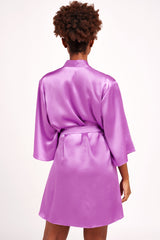 Luxury silk dressing gown in violet purple satin