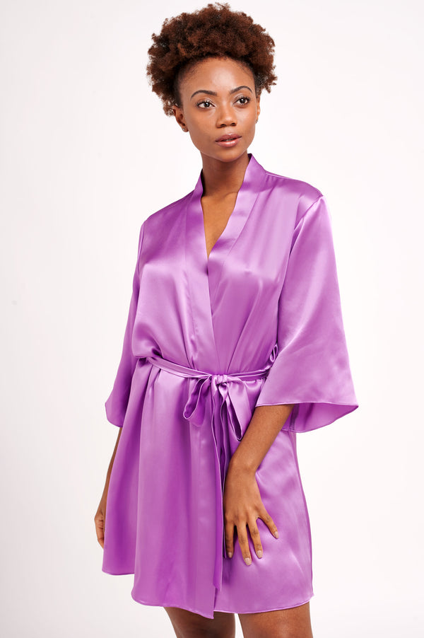 Violet purple robe in 100% silk satin