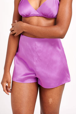 Violet, retro tap pants in pure silk satin
