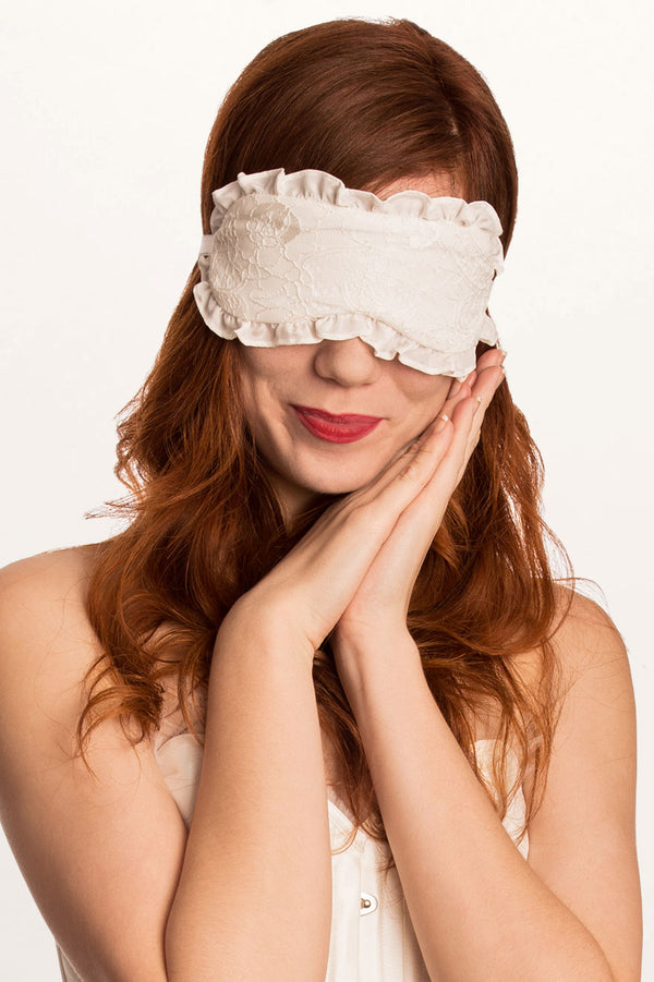 Off-white silk sleep mask with lace and ruffles