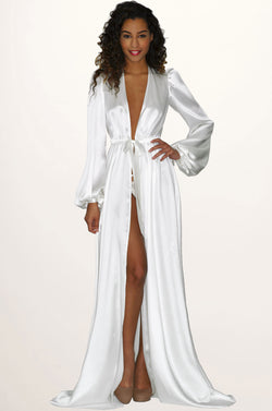 White bridal robe in floor length silk satin for brides on her wedding morning