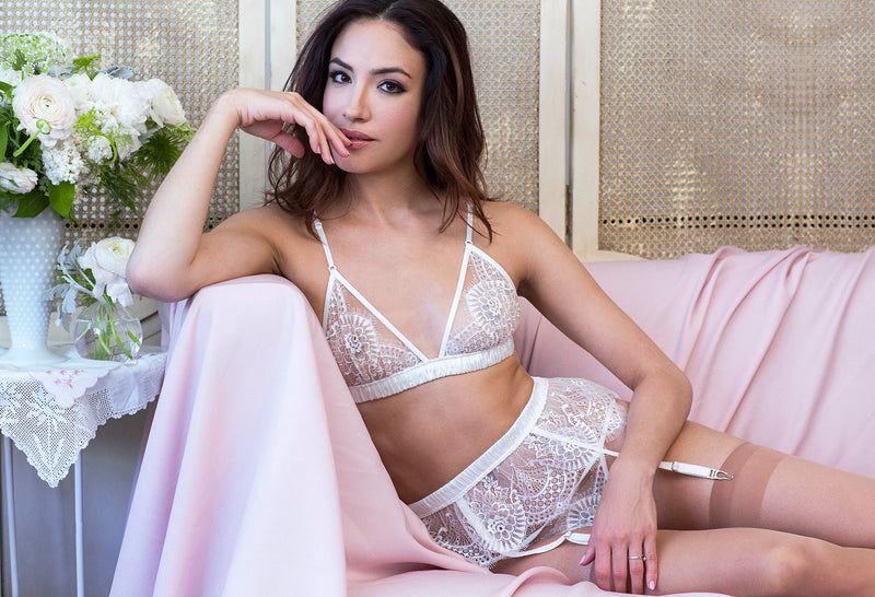 Vintage style bridal lingerie and underwear sets with garter belt and a bouquet
