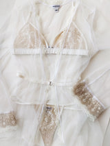 Vintage style bridal lingerie set with white lace underwear