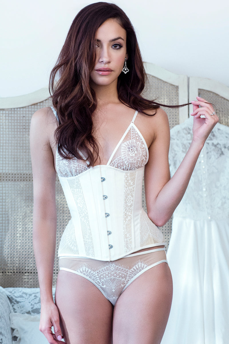 Luxury silk wedding corset with white lace bra and knickers