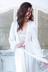 Vintage-inspired ivory robe, handmade of pure silk satin with bows