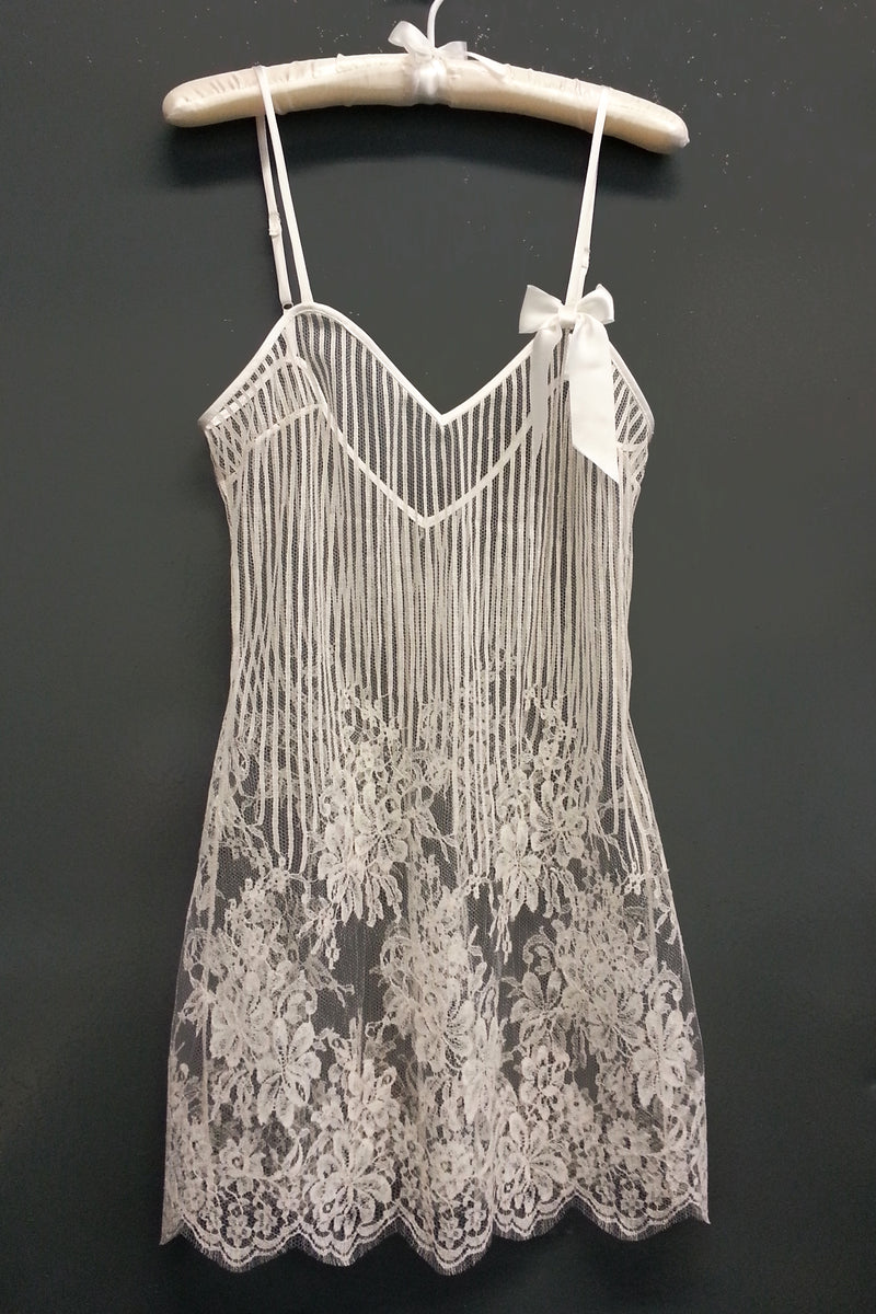 White French lace negligee and slip dress for brides