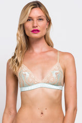 Vintage inspired bralettes with 100% silk band and lace cups in mint green and beige
