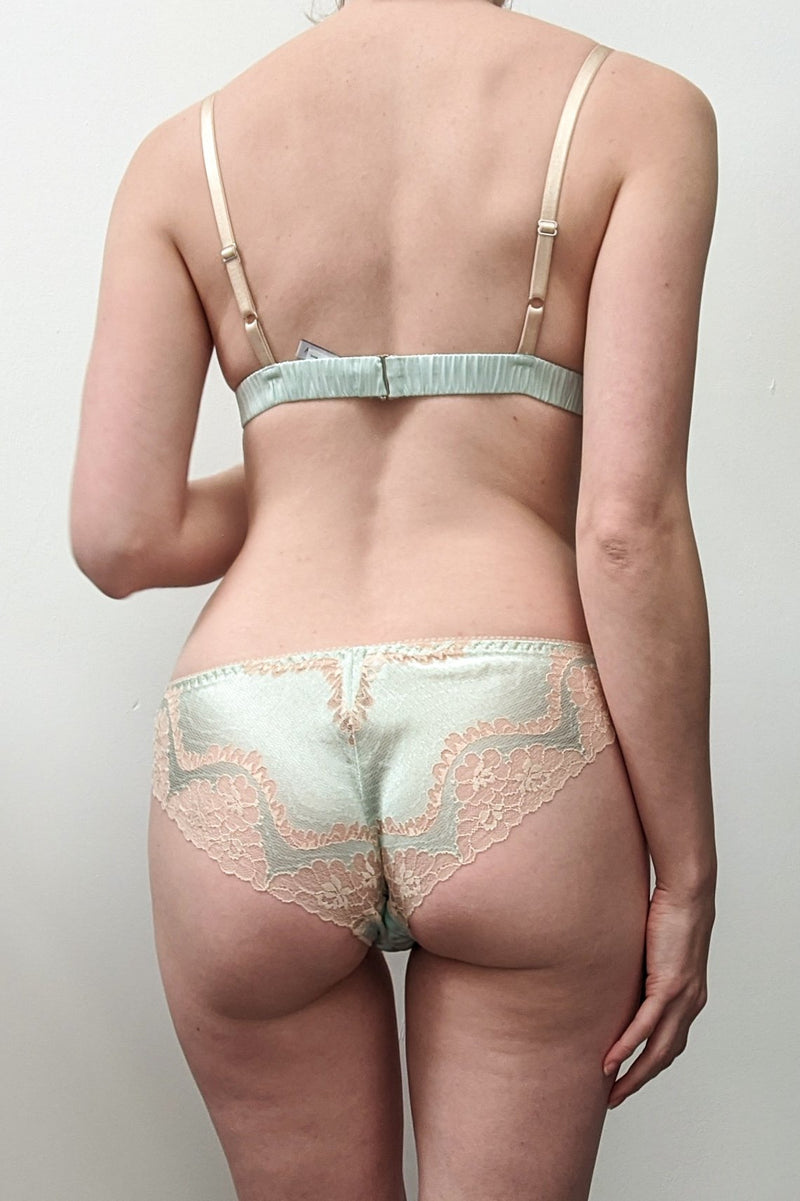Retro designer underwear set in nude lace with sage green silk