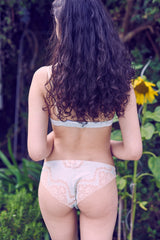 Designer silk and lace bras and mint green knickers by luxury lingerie designer Angela Friedman