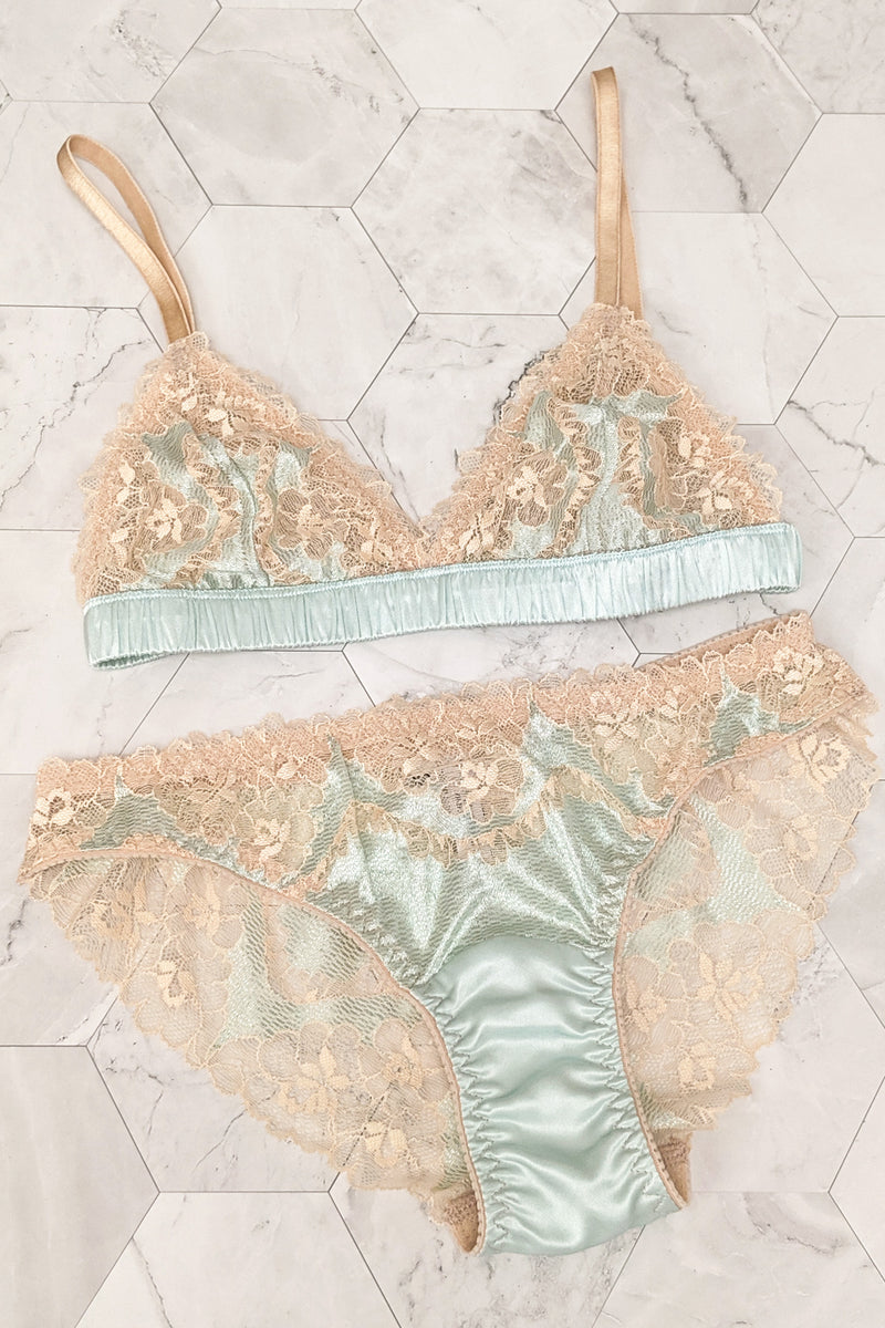 Willow mint green and beige lace underwear set by luxury lingerie designer Angela Friedman