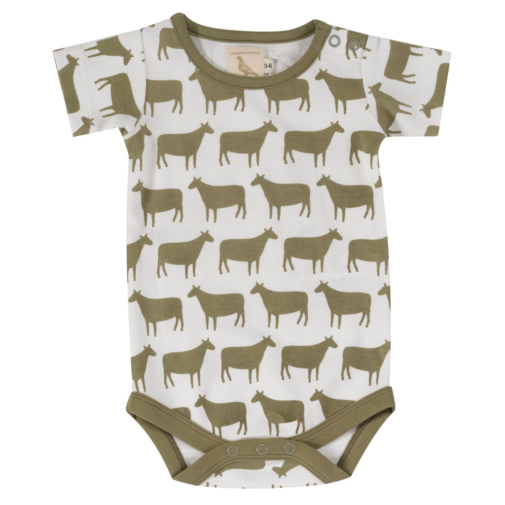 pigeon organics-body suit olive sheep -baby at the bank