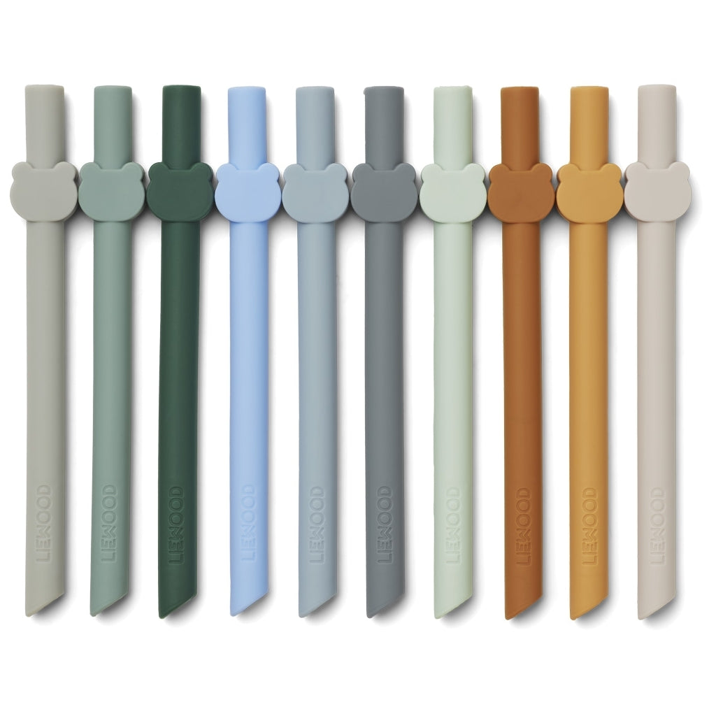 Liewood - Silicone Straw 10 Pack Blue Wave Mix