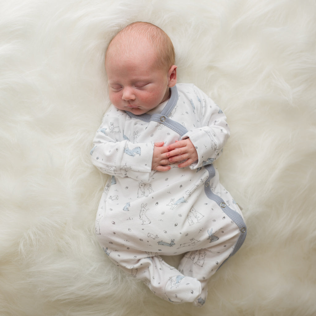 Baby Acorn - Silver Trees Silver /White sleep suit - Baby at the Bank