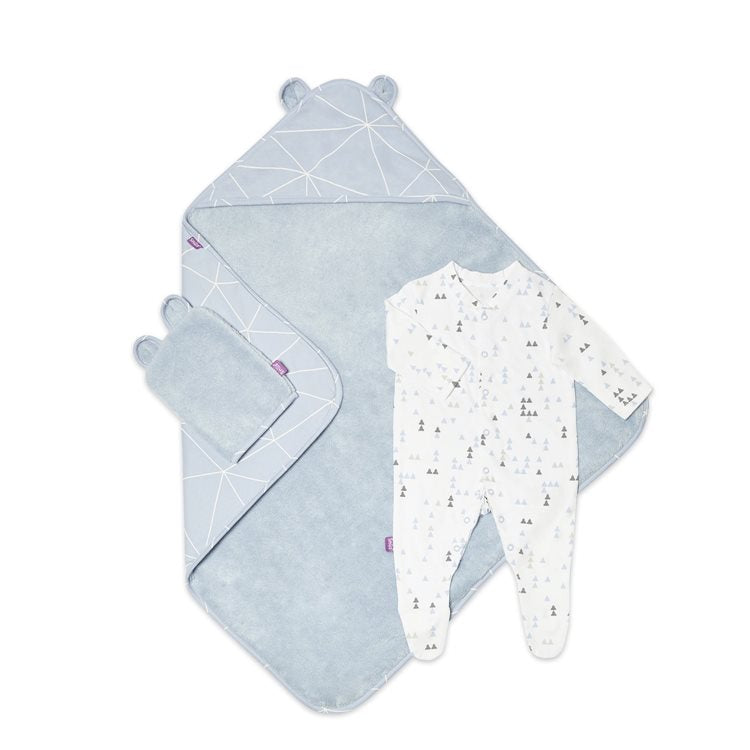 Snuz - Baby Bath & Bed Set Geo Blue - Baby at the Bank
